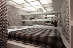 Modern Small Apartment Interior Design with 25,000 Ping Pong Balls On Walls