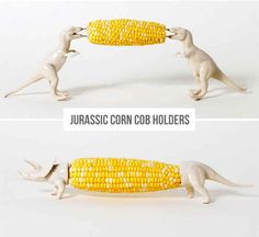 BBQs just got even better with these dinosaur corn-on-the-cob holders.