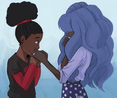 Human AU Ruby and Sapphire by boroques