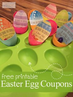 Looking for an alternative to candy? You'll love these Easter egg coupon printables. Good for one free chore, a hug, 30 minutes of staying up late, a tickle session, and more!