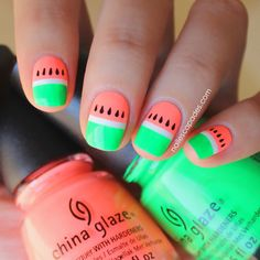 Nail Escapades: Polishers Inc. - Neon'tastic // Watermelon Nail Art