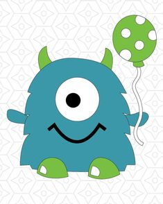 Monster Vector Design, SVG, DXF, EPS Vector files for use with Cricut or Silhouette Vinyl Cutting Ma Monster 1st Birthdays, Monster Birthday Parties, Boy Birthday, Cartoon Monsters, Cute Monsters, Little Monsters, Monster Party, Mothers Day Crafts For Kids, Silhouette Vinyl