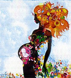"""To be pregnant is to be vitally alive, thoroughly woman, and distressingly inhabited. Soul and spirit are stretched – along with body – making pregnancy a time of transition, growth, and profound beginnings. Image F, Birth Art, Pregnancy Art, Belly Painting, Mother And Child, Black Art, Mother Earth, Art Drawings, Sketches"