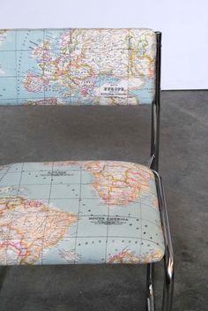 Aquí está la silla Aerolínea, elegante y ligera, tapizada con la tela de mapa que compramos en peSeta ¡¡Daos prisa, las agencias de viajes y touroperadores están colapsando la centralita para llevársela!! http://mueblesnovato.com/2015/04/15/silla-aerolinea/
