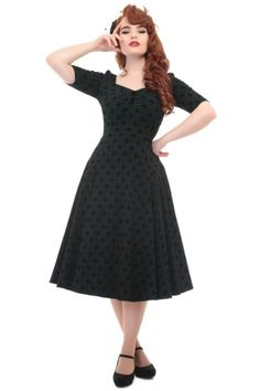 Collectif Vintage Dolores Doll Half Sleeve Brocade Dress