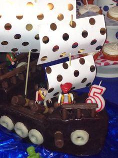 Tarta barco pirata chocolate