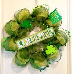 St Patricks Day Mesh Deco Wreath
