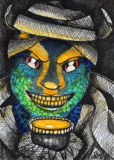 ACEO Halloween31 Original Art Mummy Character Cartoon Creepy Drawing SMcNeill #Miniature