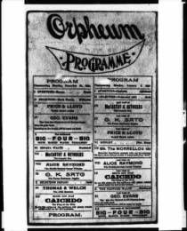 First program of the Orpheum Theatre in Los Angeles, December 1894 :: California Historical Society Collection, 1860-1960