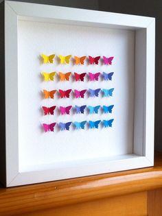 Items similar to paper butterflies / wall art/ home decor / wedding gift / nursery decor / love / paper butterflies on Etsy Butterfly Gifts, Butterfly Wall Art, Butterfly Decorations, Paper Butterflies, Butterfly Mobile, Box Frame Art, Box Frames, 3d Paper, Paper Crafts