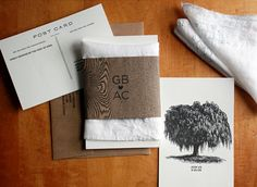 """pine or oak tree hankie from etsy. tree response card with the egg drawn into the branches. paper bag band. hand illustrated map drawn by maureen or mom maybe... wording to include """"together with their families"""" instead of invited by parents.... invite you to celebrate their wedding... or something."""