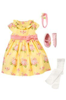 Gymboree Flower Bow Dress in chick yellow floral, Fruffle headband in bunny pink, Tights in ivory, Flower Crib Shoes in bunny pink
