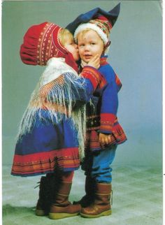Cute pair of Finnish Sami children in traditional costumes of Lapland Cool Baby, We Are The World, People Of The World, Precious Children, Beautiful Children, Scandinavian Countries, Iron Age, My Heritage, World Cultures
