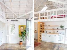 This dilapidated old garage is now a modern, clean white tiny home. The owner describes the space as a mix of Scandinavian minimalism with Santa Monica beach shack vibes. Garage Renovation, Garage Remodel, Garage Makeover, Garage To Living Space, Garage Guest House, Living Spaces, Loft Spaces, Small Living, Garage Apartment Interior