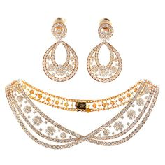 VAN CLEEF & ARPELS Diamond Gold Necklace and Earrings  France  circa 1990s  Van Cleef & Arpels is renowned for their extraordinary taste in precious jewelry. From their Snow Flakes collection, this necklace and earring set is no exception.
