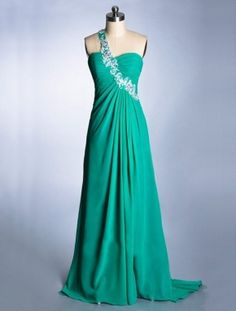 green cheap long one shoulder backless chiffon prom dress | Cheap prom dresses Sale