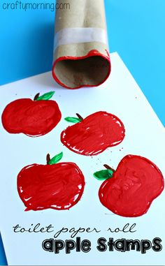 Make Apple Stamps Using a Toilet Paper Roll #Fall craft for kids to make! | CraftyMorning.com