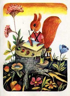 Letter writing squirrel vintage illustration by Vladimir Pivovarov, 1971 Squirrel Illustration, Children's Book Illustration, Animal Illustrations, Collages, Vintage Children, Art For Kids, Fairy Tales, Artsy, Poster