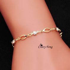 Venta al por mayor 18 k cristal plateado del oro pulseras de la amistad pulseras para mujer regalos envío gratis