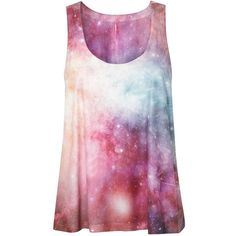 Be Beau Galaxy Print Vest Top ($20) ❤ liked on Polyvore featuring tops, shirts, tank tops, blusas, galaxy print top, shirts & tops, galaxy tank top, nebula shirt and galaxy shirt