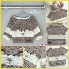 Baby Knitting Patterns Sweaters Crochet Baby Bear Sweater Free Pattern P - Crochet Baby Bear Sweater - . How to Crochet a Bear - Crochet Ideas Haak Baby Bear trui Gratis patroon P - haak Baby Bear trui - . Crochet Baby Sweaters, Crochet Baby Cardigan, Baby Girl Sweaters, Baby Girl Crochet, Crochet Baby Clothes, Crochet For Boys, Newborn Crochet, Baby Knitting Patterns, Baby Patterns