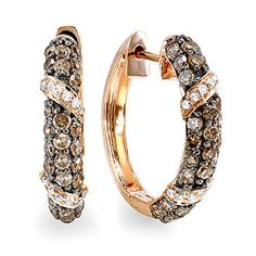 085 Carat ctw 14K Rose Gold Round White  Champagne Diamond Ladies Hoop Earrings * Find out more at the image link.