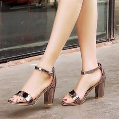 26.95$  Buy here - http://aliaxf.shopchina.info/1/go.php?t=32809902215 - Plus Size 34-44 Summer New Patent Leather Women Sandals Peep Toe Square High Heels Sandals comfortable Pumps Ladies Shoes Party  #buyininternet