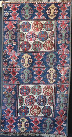 """Pair of Shahsavan soumac bagfaces circa 1850. 54 x 104cm/ 1'9"""" x 3'5"""""""