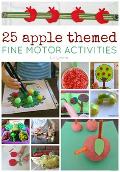 25 Apple Themed Fine Motos Skills Activites on Lalymom.com perfect for Fall & Autumn lesson plans, montessori work and more! Some are geared towards toddlers while others are better for preschoolers and school aged kids. #EarlyEd #FineMotor #ActivitiesForKids