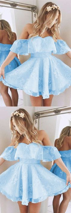Short A Line Sweetheart Ruffles Shoulder Homecoming Dresses Cute Lace Prom Dresses Short Homecoming Dress 71716 Cute Dresses For Party, A Line Prom Dresses, Trendy Dresses, Dance Dresses, Evening Dresses, Bridesmaid Dresses, Summer Dresses, Formal Dresses, Dress Party