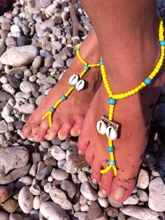 Yellow barefoot sandal by HIPPYANNE on Etsy, $15.00