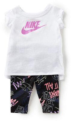 8092a6d7b1e Nike Baby Girls Short-Sleeve Tunic Top   Printed Leggings Set  babygirl
