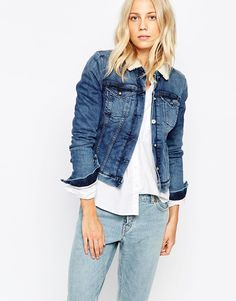 Image 1 ofCalvin Klein Jeans Fitted Denim Jacket With Faux Shearling Collar