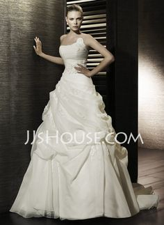Wedding Dresses - $231.99 - A-Line/Princess Strapless Chapel Train Organza  Satin Wedding Dresses With Ruffle (002000647) http://jjshouse.com/A-line-Princess-Strapless-Chapel-Train-Organza--Satin-Wedding-Dresses-With-Ruffle-002000647-g647