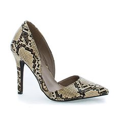 Mavis24 Beige Snake DOrsay Pointy Toe Slip On Stiletto Heel Dress Pumps75 *** Clicking on the VISIT button will lead you to find similar product