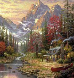 Hermosos-paisajes-cascadas-wallpapers-pinturas_de_thomas-kinkade