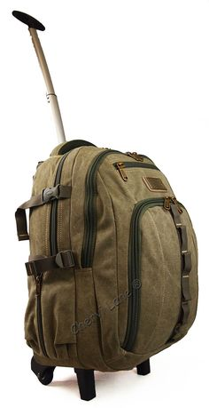 """High Quality Canvas Wheeled Backpack 20"""" - 24"""" Hand Luggage Holdall Travel Bag…"""