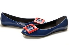 Roger Vivier Belle Vivier Navy Blue Leather Ballerinas Flat