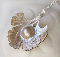 Long Necklace Carved Mabe Pearl Ginkgo Leaf Sterling