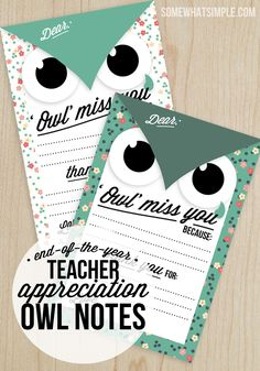 teacher appreciation + thank you owl note card
