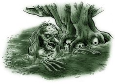 Jenny Greenteeth is a figure in English folklore. A river hag, similar to Peg Powler, she would pull children or the elderly into the water and drown them. She was often described as green-skinned, with long hair, and sharp teeth.