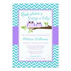 Purple Owl Teal Chevron Girl Baby Shower Card