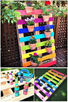 Rainbow Pallet Flower Garden Planter - Pallet Projects - 150 Easy Ways to Build Pallet Projects - DIY & Crafts