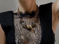 Gabriela Artigas Antique Gold chain & Pyrite cubes