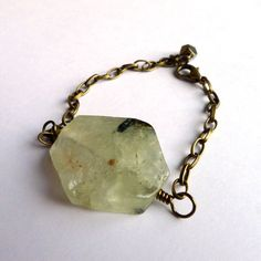 prehnite bracelet with antique brass chain huge by MissLadysmith, $27.50