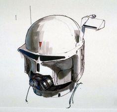 Ralph McQuarrie - Early Boba Fett helmet concept
