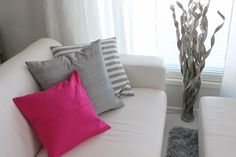 Her home is amazing. Looks gorgeous with pink. Homewhitehome.blogspot.com