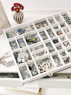 Jewelry Storage Drawer with Insert Boxes. A great way to keep all your jewelry in one place and organized by storing them in a drawer insert.