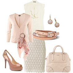 Dusty Rose with Lace skirt. Cute dressy outfit. norapane  (But I'll take that shoe in a lower heel please)
