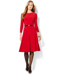 RED Long-sleeve, knee-length Belted A-Line Dress | Lauren Ralph Lauren | Macy's